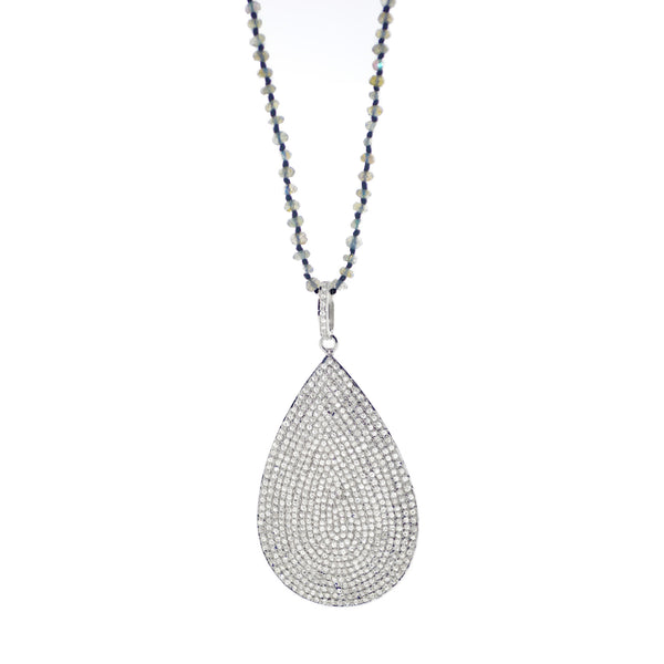 Pave Diamond Rain-Drop Necklace