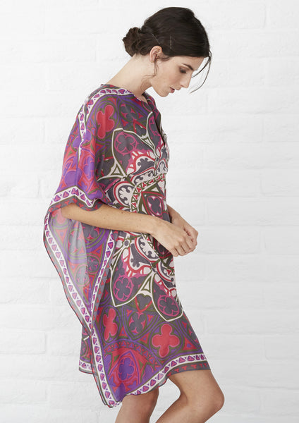 Scarf Print Pink Short Caftan | Beach Cover Up