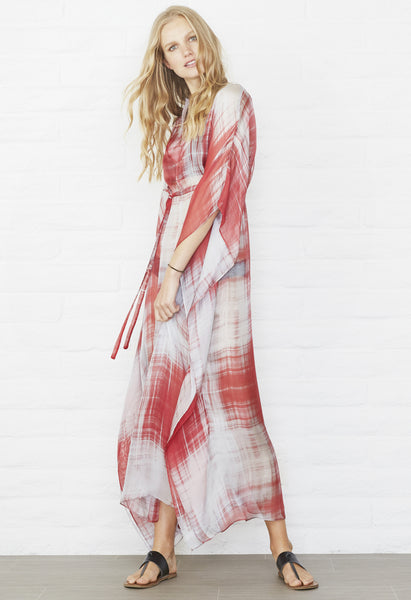 Red and Grey abstract Silk Long caftan
