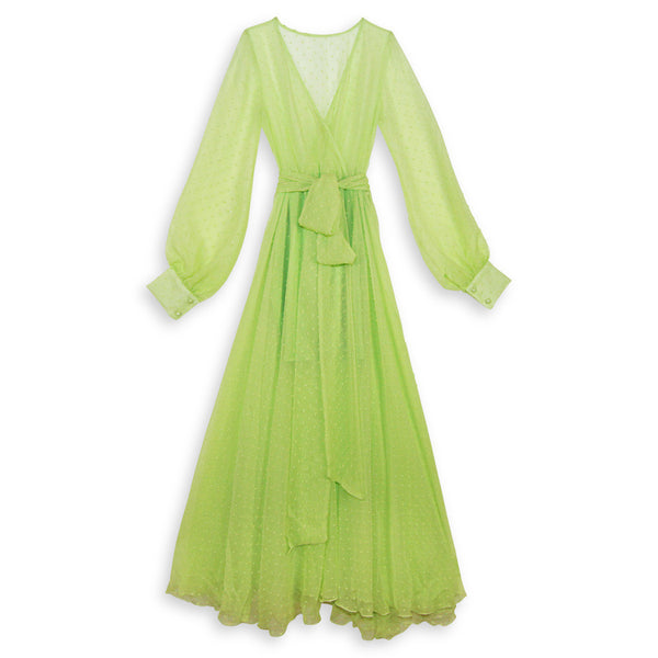 Lime Sheer Dot Gown