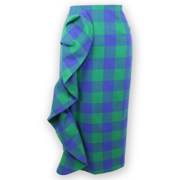 Tilly Tartan Blue + Green Pencil Skirt