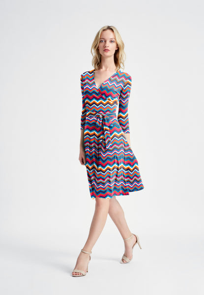 Perfect Wrap Dress in Chevron