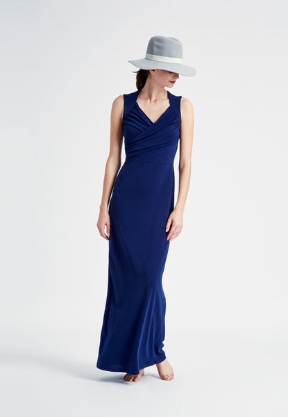 Alexandra Sleeveless Sweetheart Maxi in Evening Blue Crepe