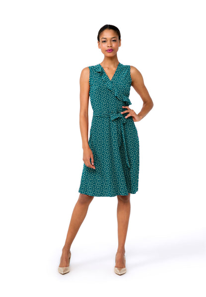 Felicity Sleeveless Ruffle Perfect Wrap Dress in Ocean Depths Confetti Dot