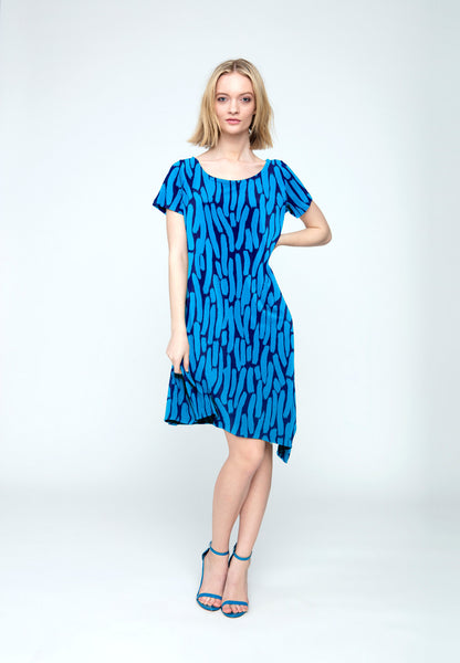 Darien Scarf Dress in Azure Brushstroke