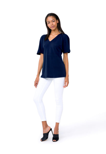 Allie Top in Evening Blue Crepe