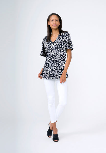 Allie Top in Snow Leopard Black