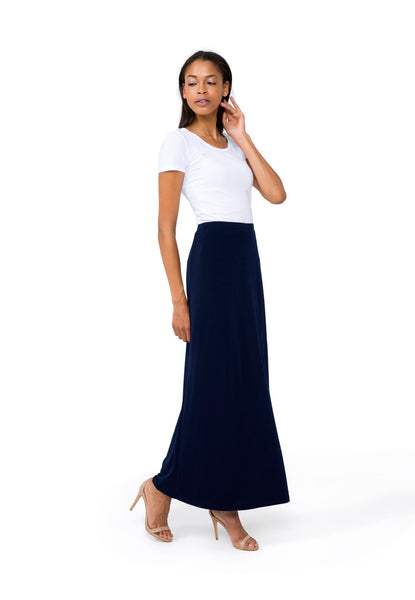 Gigi Slit Maxi Skirt in Evening Blue Crepe