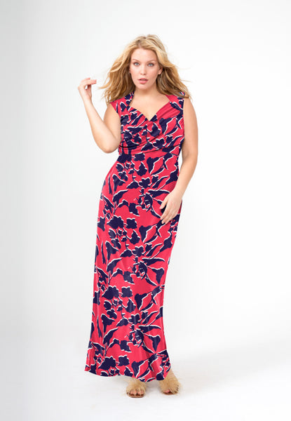 Alexandra Sleeveless Sweetheart Maxi in Shadow Floral (Full Figure)