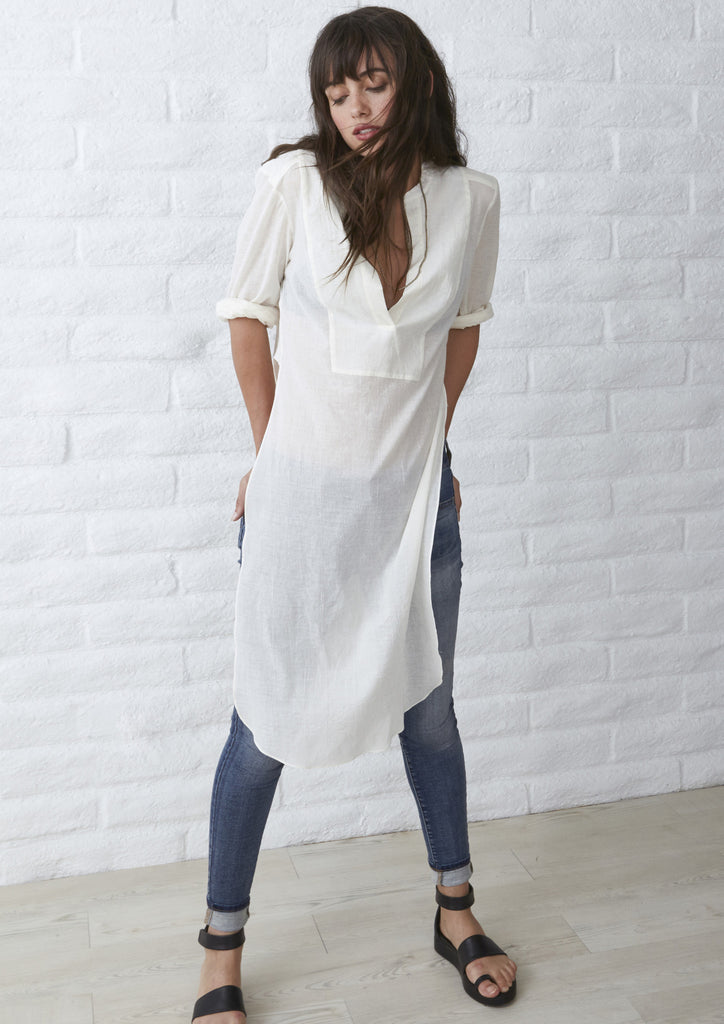 The Jess Tunic - Long Open Side Tunic in Ivory
