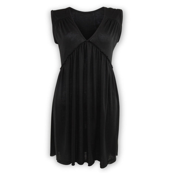 Vicki V-Neck Swing Dress - Black