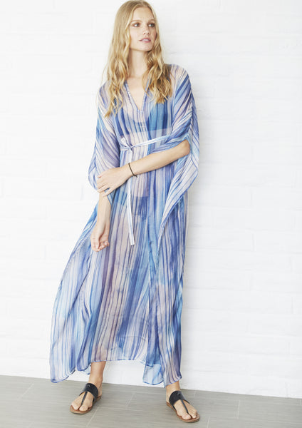 Blue Wave Print Long Silk Caftan