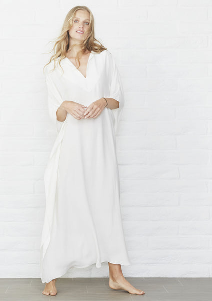 White Long Cupro Caftan