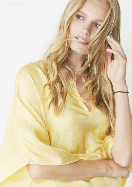 Yellow Long Silk Caftan
