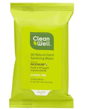 CleanWell Natural Hand Sanitizing Wipes  Pocket Pack