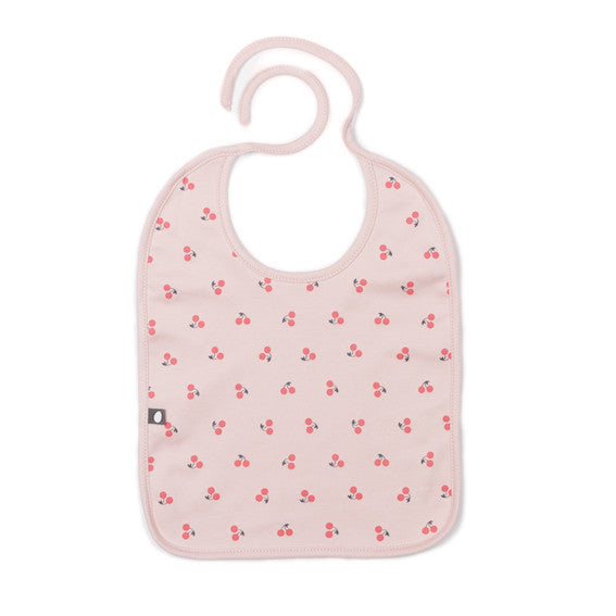Organic Pima Cotton Large Bib  Pink Cherries