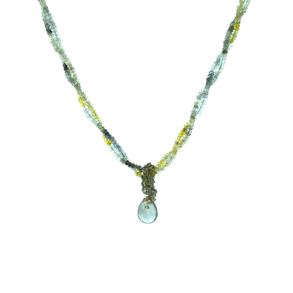 Moss Aquamarine and Sapphire necklace