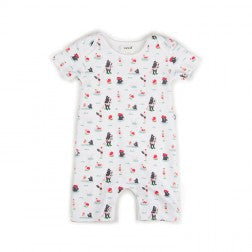 Short Romper  White Bear