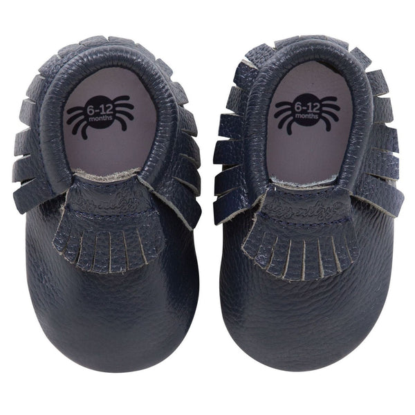 Moc Happens Leather Baby Moccasins- Blueberry