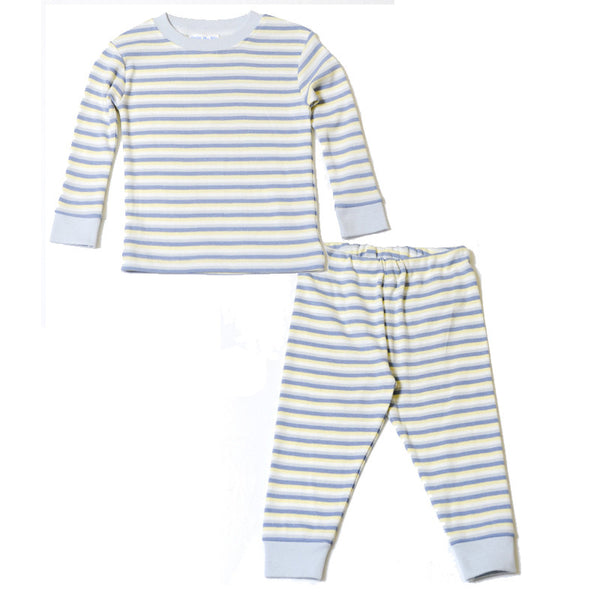 Baby Long Johns - Blue Yellow Cream Stripe