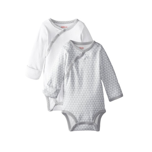 Skip Hop Petite Triangles Grey Side Snap Long Sleeve Bodysuit