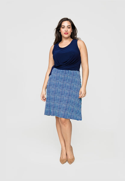 Combo Britt in Navy Crepe/Summer Plaid