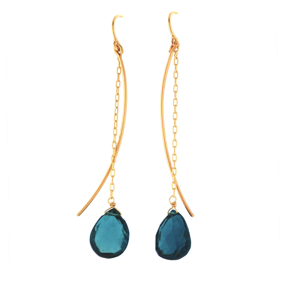 Charm Schools in 14k Gold London blue Topaz & Moss Aquamarine Earrings