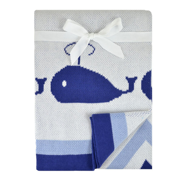 Just Born Whales Jacquard Sweater Blanket - Navy