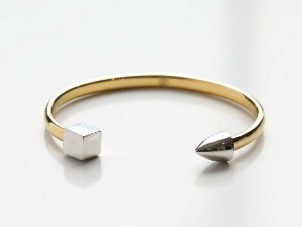 Modern Two-Tone Cuff in Gold or Silver