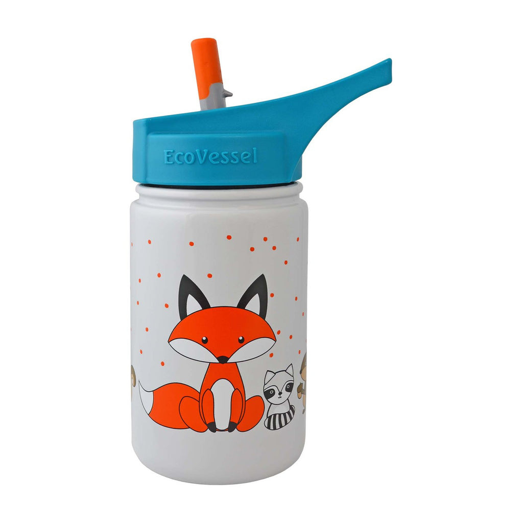 Stainless Steel Sippy with Straw  Gray Fox