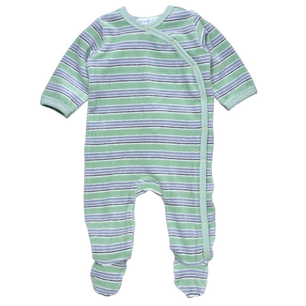 Under the Nile Velour Stripes Side Snap Footie