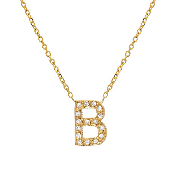 14K Yellow Gold Diamond Initial Necklace - 16""