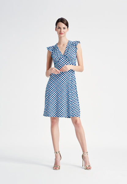 Isabella Flutter Sleeve Dress in Trellis Dot