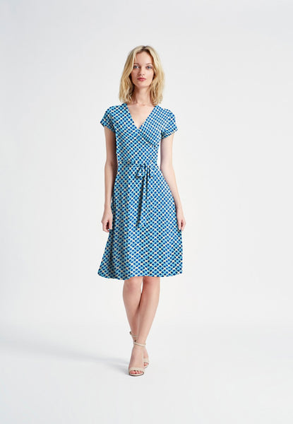Cap Sleeve Faux Wrap Dress in Trellis Dot