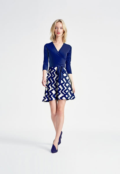 Combo Perfect Wrap Mini Dress in Zig Zag/Navy Crepe