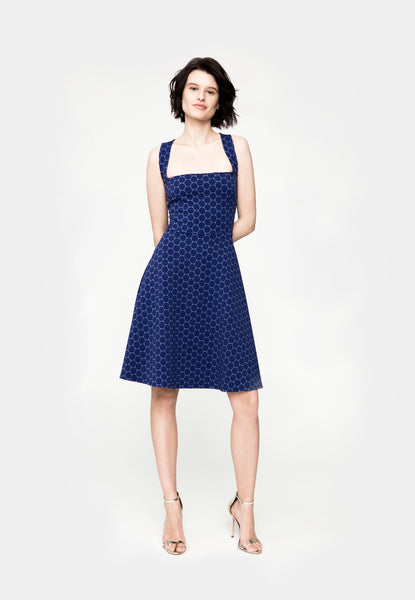 Criss Cross Back Dress in Navy Cameo