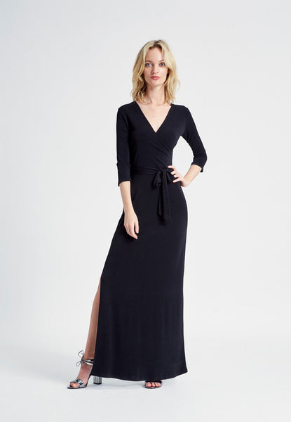 Perfect Wrap Dress in Black Crepe