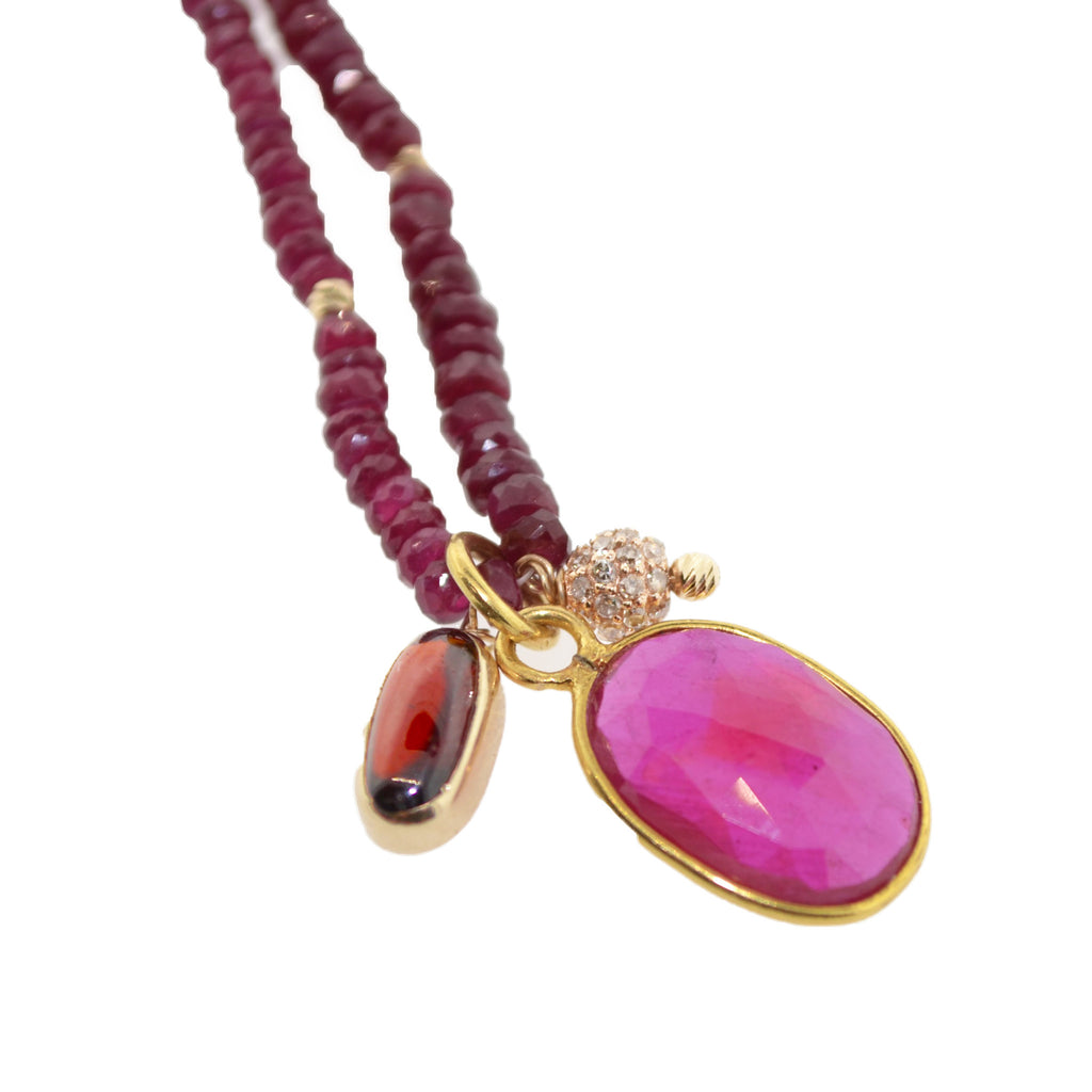 Tri-Charm Ruby Necklace