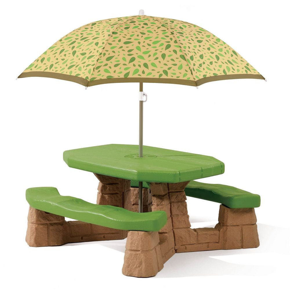 Naturally Playful Picnic Table with Umbrella- Leaf