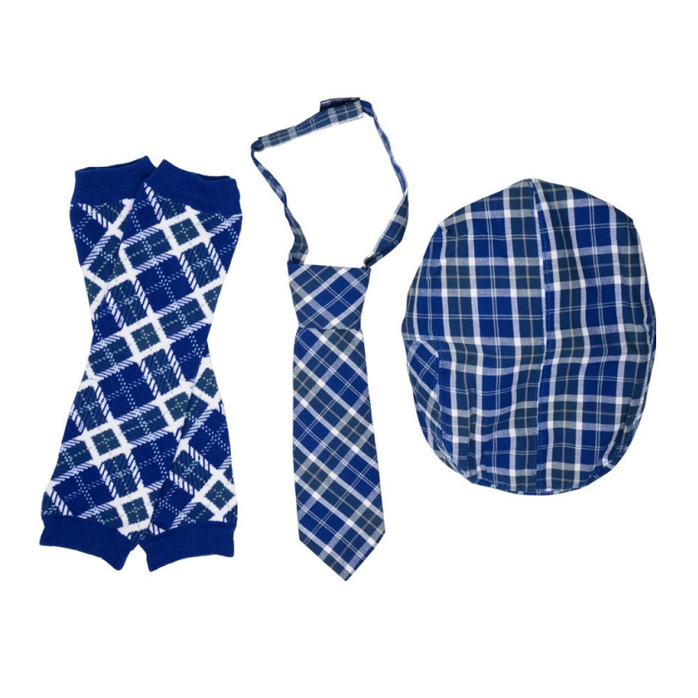 Blue Plaid Cabbie Hat, Tie and Leg Warmers Set