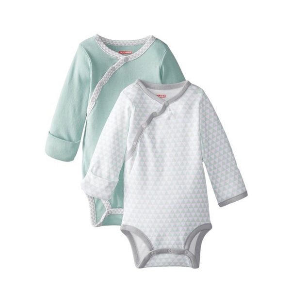 Skip Hop Petite Triangles Blue Side Snap Long Sleeve Bodysuit