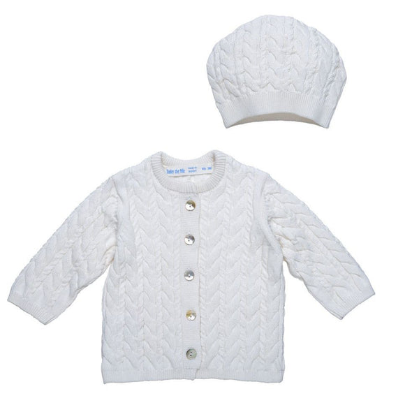 Cable Knit Cardigan & Hat Set Off White