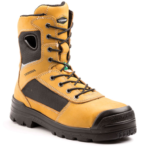 "Terra 8"" Pilot Leather Men's Composite Toe Safety Work Boot - tan"