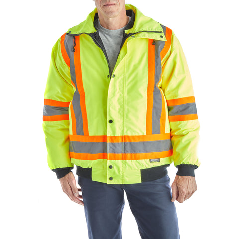 Terra Men's Hi-Vis 7 in 1 System Work Bomber Jacket