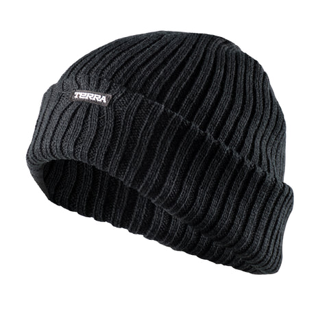 Terra Knitted Ribbed Winter Black Toque 2x2