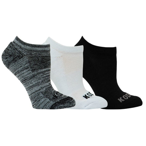 3 PK Kodiak Women's Ankle Work Socks DL0004 - Black/Grey/White