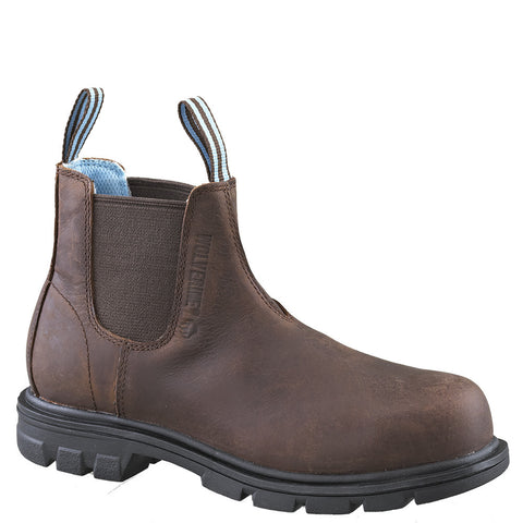 Wolverine Women's Brown Leather Belle Pull-On Steel Toe Safety Boot