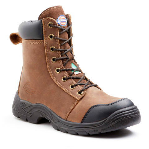 "Dickies Wrecker 8"" Men's Steel Toe Work Safety Boots - brown"