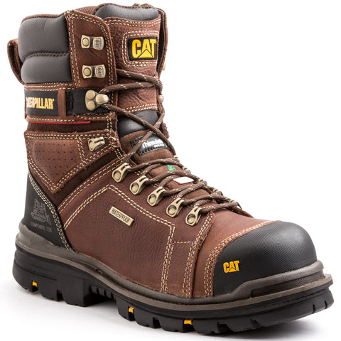 "CAT Hauler Men's 8"" Waterproof Composite Toe Work Boot - Brown"