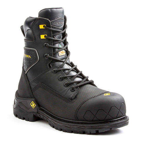 "Terra Men's Sawtooth 8"" Safety Work Boot With Composite Toe  - black"